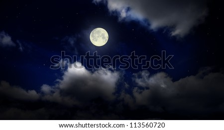 Night cloudy sky with moon - stock photo