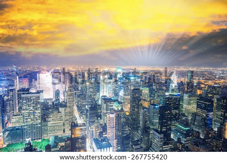 Night colors of New York City. - stock photo