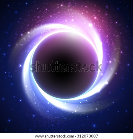 Night cosmic background with glowing stars around big dark planet in center and blue-purple light trails. Beautiful bright eclipse in a distant galaxy