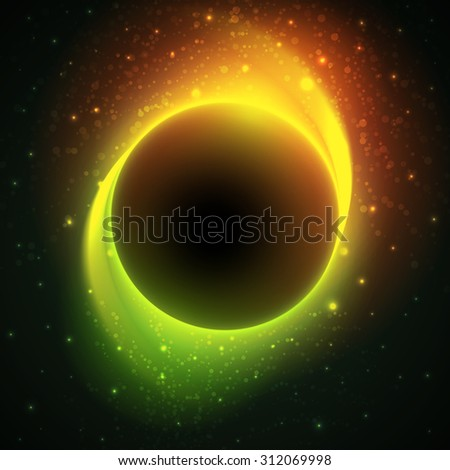 Night cosmic background with glowing stars around big dark planet in center and green-orange light trails. Beautiful bright eclipse in a distant galaxy