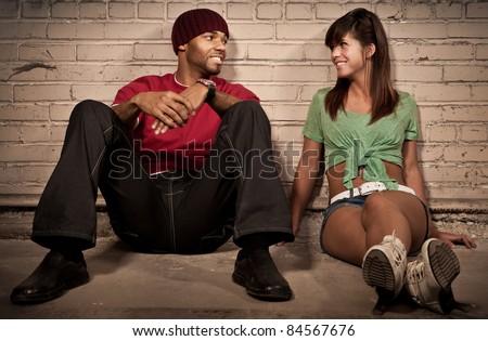 Night Couple Portrait - Sitting - stock photo
