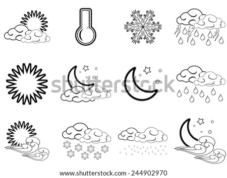 Night day weather color icons set black outlined isolated on white background.