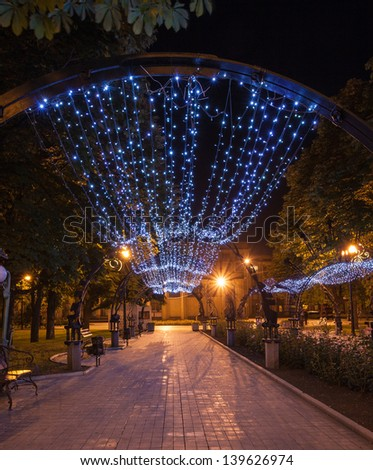 Night decorated alley in Donetsk city park - stock photo