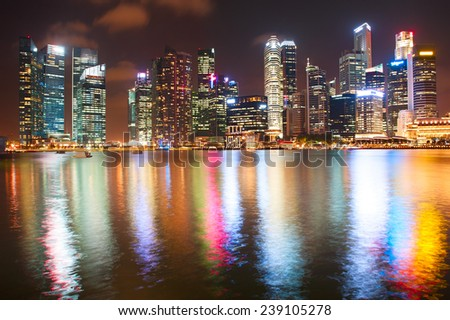Night Downtown Singapore - stock photo