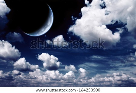 Night fairy tale - bright moon in the night sky - stock photo
