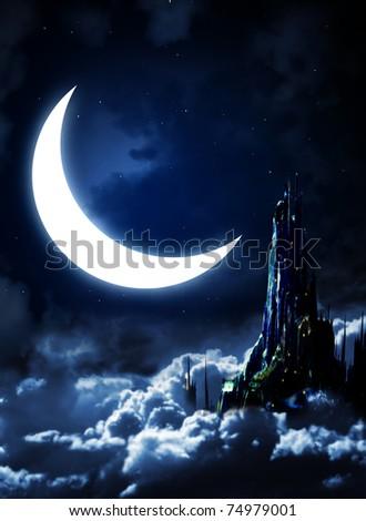 Night fairy-tale. Fantasy landscape with castle - stock photo