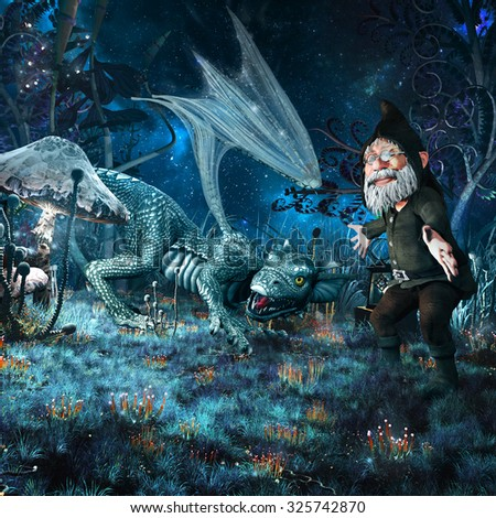 Night fairytale scenery with hatchling dragon, gnome and fantasy plants