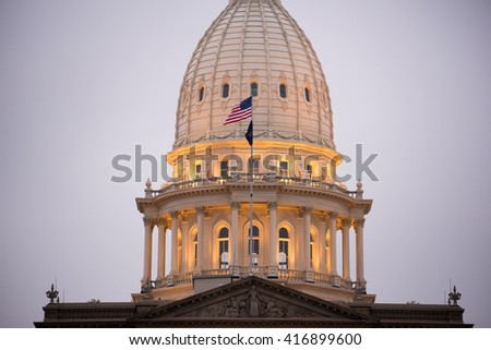 Night Falls Capital Building Lansing Michigan Downtown City Skyline - stock photo