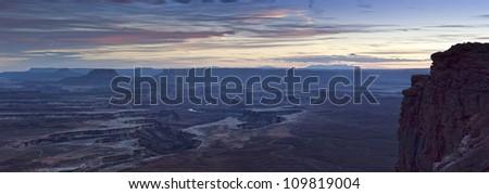 Night falls over Canyonlands National Park, USA - stock photo