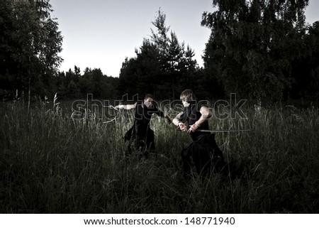 night fight - stock photo