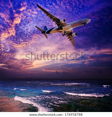 Night flight - stock photo