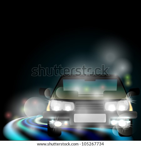 Night foggy road with neon light and blurred generic car - stock photo