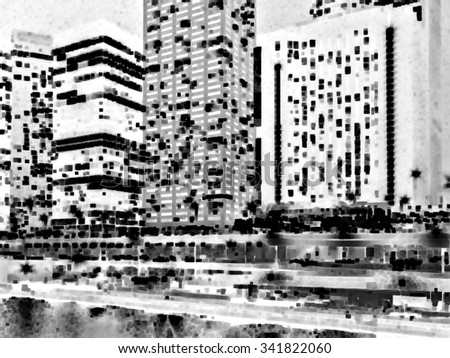 Night-for-day abstract of city lights in black and white, with riverbank, double-decked street, and skyscrapers, for themes of tourism, urban settings, real estate (one of a series)