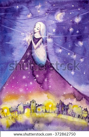 Night hanging stars on the sky.Picture created with watercolors. - stock photo
