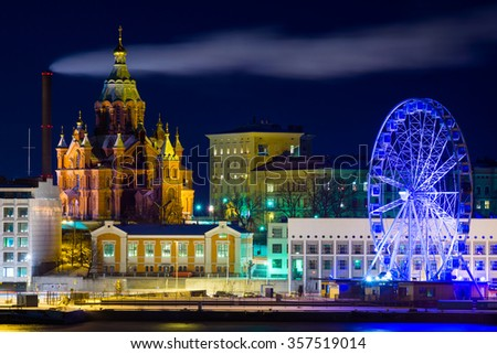 Night Helsinki landscape - stock photo