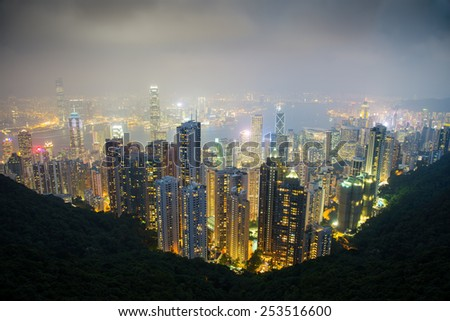 Night Hong Kong city view from The Victoria Peak. Day. China.