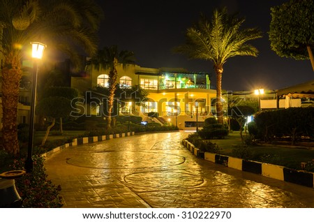 Night hotel in Egypt. Photo for microstock - stock photo