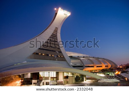 Night image of the north side of the Montreal Olympic Stadium - stock photo
