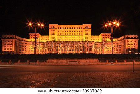Night image of The Palace of the Parliament, also known as The People's House in the Cheauchesku's era, in Bucharest,Romania.