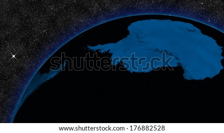 Night in Antarctica with city lights viewed from space. Elements of this image furnished by NASA. - stock photo