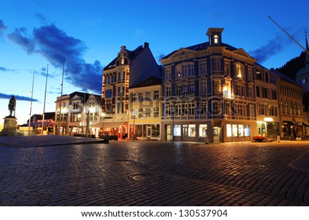 Night in Bergen, Norway - stock photo