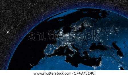 Night in Europe region with city lights viewed from space. Elements of this image furnished by NASA. - stock photo