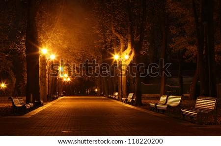 Night in Mariinsky Park in Kiev, Ukraine - stock photo