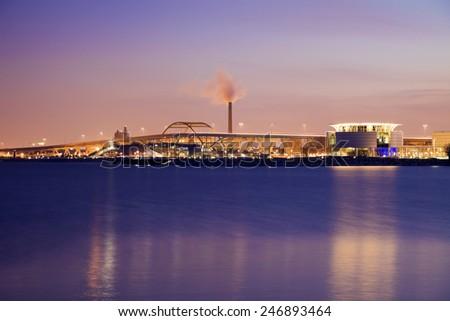 Night in Milwaukee, Wisconsin.  - stock photo