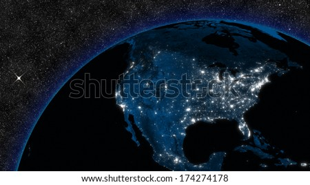 Night in North America with city lights viewed from space. Elements of this image furnished by NASA. - stock photo