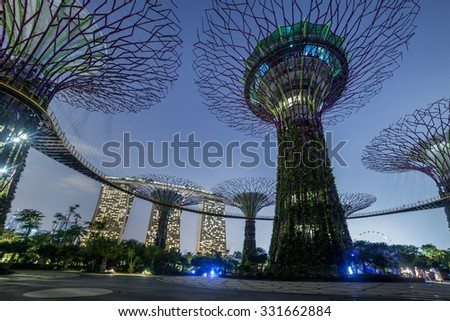 Night in Singapore. Marina Bay Sands, Singapore. - stock photo