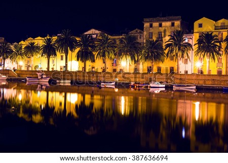 Night in the little town Bosa in Italy