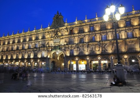 Night in the main square of Salamanca, Spain.