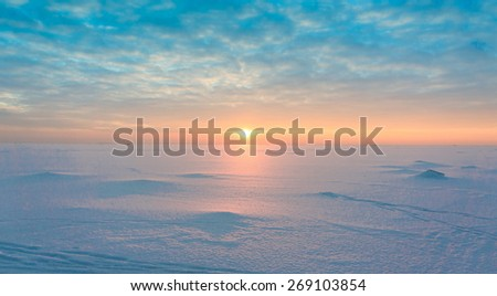 Night is Coming Ice Desert  - stock photo