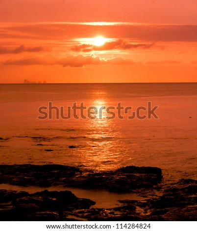Night is Coming Sunset Paradise - stock photo