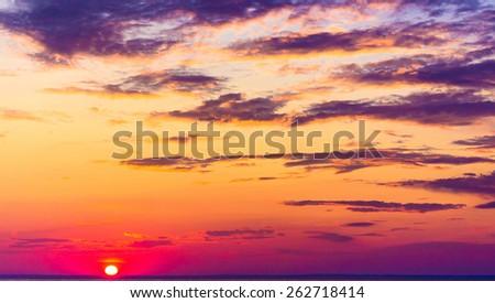 Night is Near Fiery Heaven  - stock photo