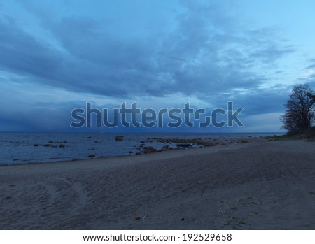 night landscape and the blue sea - stock photo