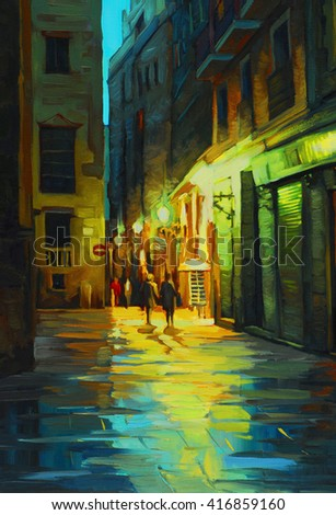 night landscape in barcelona gothic quarter with the rain, painting in oil on canvas, illustration - stock photo