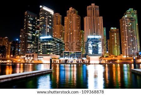 night landscape metropolis in Dubai, UAE - stock photo