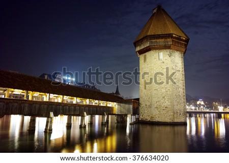 Night Landscape of Chapel Bridge in City of Lucern, Canton of Lucerne, Switzerland - stock photo
