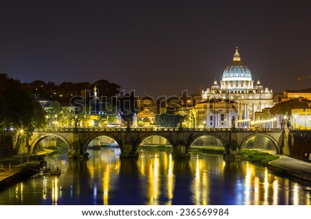 Night landscape of Rome, Angels bridge and St. Peter s basilica near river Tiber - stock photo