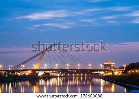 Night landscape of the Taipei with the bridge