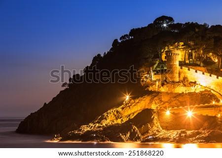 Night landscape of Tossa de Mar, Costa Brava. Spain. - stock photo