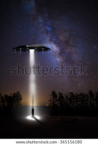 night landscape, the starry sky and UFOs