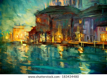 night landscape to venice, painting by oil on plywood, illustration - stock photo