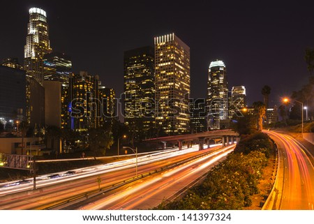 Night Landscape view of Los Angeles Downtown - stock photo