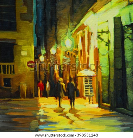 night landscape with rain in barcelona gothic quarter, oil painting on canvas, illustration - stock photo