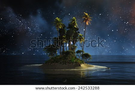night landscape with stars of a tropical island - stock photo