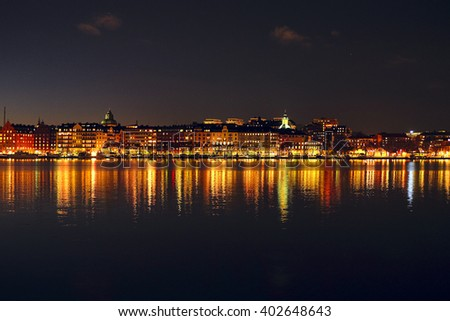 Night landscape with the image of Stockholm, Sweden