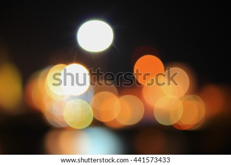 night light bokeh  Blur blurred river with reflex in water colorful beautiful  background