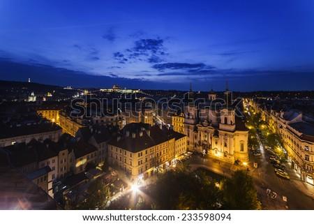 Night light in Prague.  Czech Republic. - stock photo